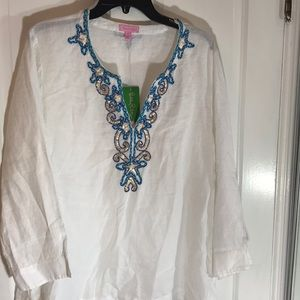 Lilly Pulitzer white tunic top XL NWT